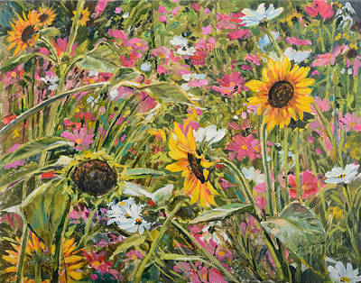 Painting - Sunflower And Cosmos by Steve Spencer