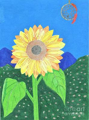 Drawing - Sunflower And Dreamcatcher by Julia Hanna