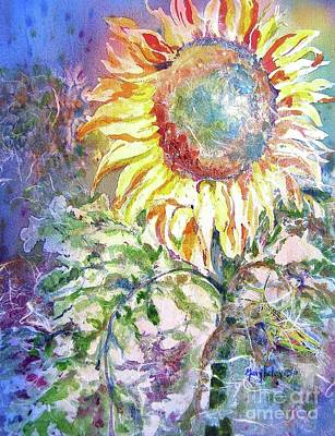 Sunflower And Grasshopper Art Print by Mary Haley-Rocks