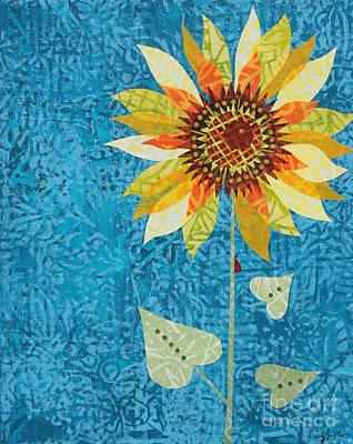 Mixed Media - Sunflower And Ladybug #2 by Janyce Boynton