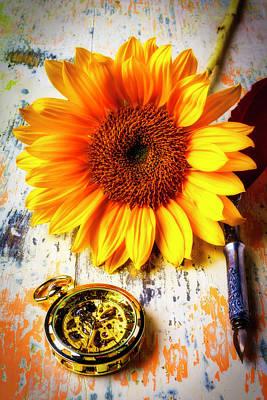 Sunflower And Pocktwatch Art Print