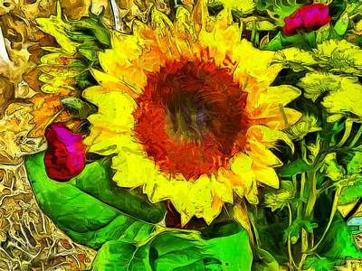 Photograph - Sunflower And Roses by Thom Zehrfeld