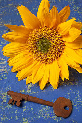 Open Photograph - Sunflower And Skeleton Key by Garry Gay