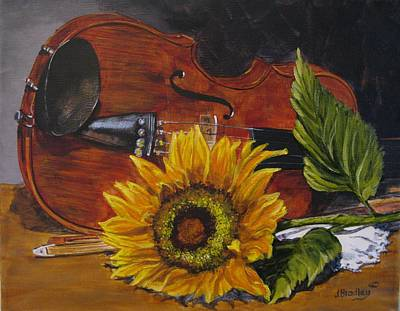 Painting - Sunflower And Violin by Judy Bradley