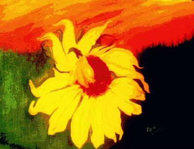 Digital Sunflower Painting - Sunflower At Sunset by Peggy Ann Serena Hemmer