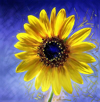 Painting - Sunflower Azul by Barbara Chichester