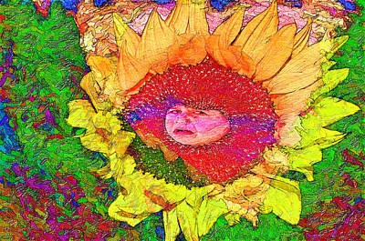 Digital Sunflower Painting - Sunflower Baby by Image Takers Photography LLC - Carol Haddon