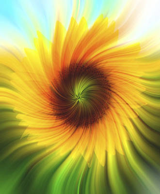 Blooming Digital Art - Sunflower Beams 2 by Terry DeLuco