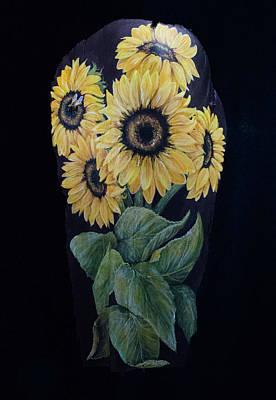 Painting - Sunflower Bee by Nancy Lauby