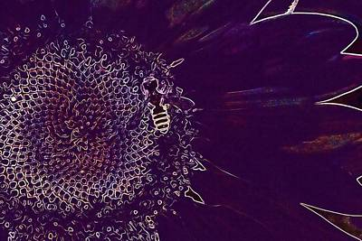 Digital Art - Sunflower Bee Pollinate Insect  by PixBreak Art