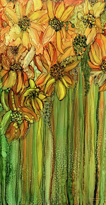 Mixed Media - Sunflower Bloomies 2 - Golden by Carol Cavalaris