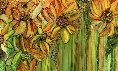Mixed Media - Sunflower Bloomies 3 - Golden by Carol Cavalaris