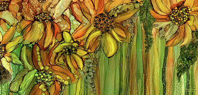 Mixed Media - Sunflower Bloomies 4 - Golden by Carol Cavalaris
