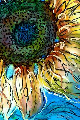 Sunflowers Painting - Sunflower Blues by Barbara Chichester