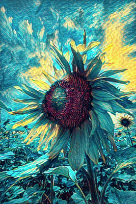 Photograph - Sunflower Blues by Debra and Dave Vanderlaan