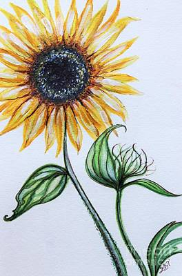 Elizaart Painting - Sunflower Botanical by Elizabeth Robinette Tyndall