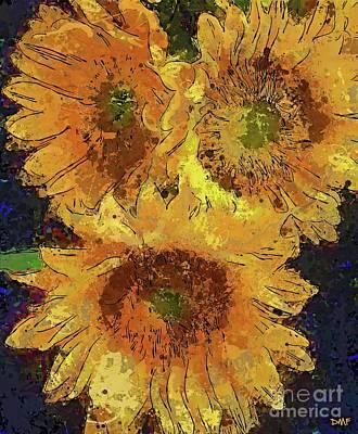 Sunflower Digital Art - Sunflower Bouquet by Dragica Micki Fortuna