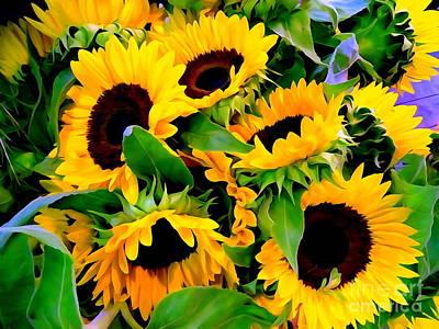 Digital Art - Sunflower Bouquet by Ed Weidman