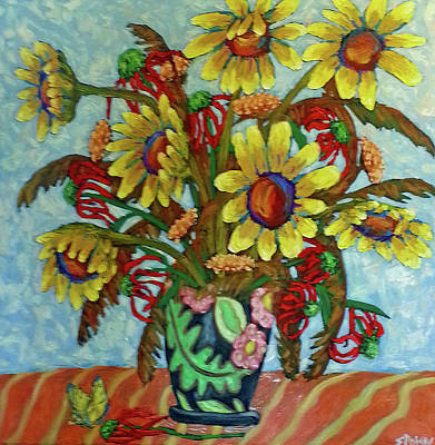 Painting - Sunflower Bouquet With Butterfly by Susan  Spohn
