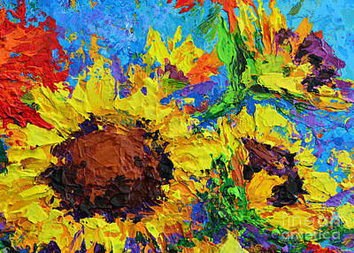 Sunflower Bunch Modern Impressionistic Floral Still Life Palette Knife Work Art Print by Patricia Awapara