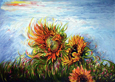 Painting - Sunflower - Burning Desire To Fly by Harsh Malik