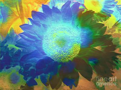 Painting - Sunflower Burst In The Moonlight  by Kimberlee Baxter