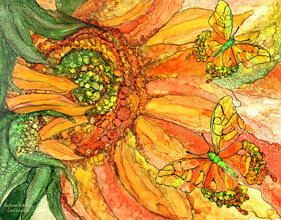Mixed Media - Sunflower Butterflies by Carol Cavalaris