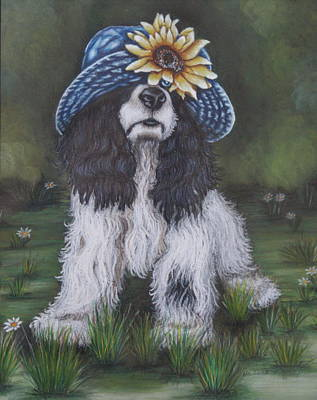 Cocker Spaniel Painting - Sunflower Cap And Cocker Spaniel by Theresa Cangelosi