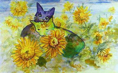 Painting - Sunflower Cats Caricature by Ryn Shell