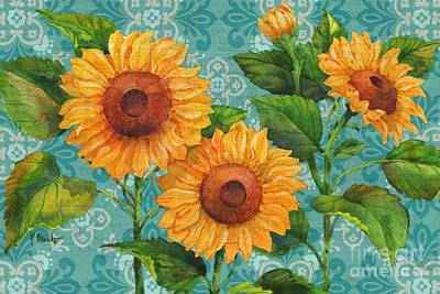 Sunflower Painting - Sunflower Chic - Horizontal - Turquoise by Paul Brent