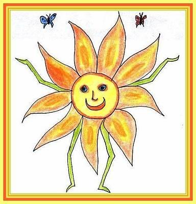 Drawing - Sunflower Child by Julia Woodman