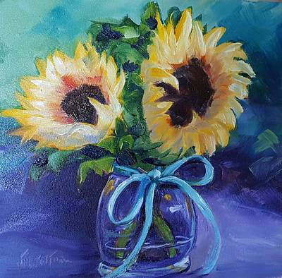 Painting - Sunflower/clear Jar by Judy Fischer Walton