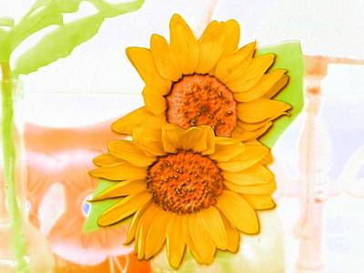 Photograph - Sunflower Couple Of Happiness by Belinda Lee