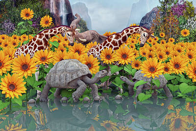 Turtle Digital Art - Sunflower Daydream II by Betsy Knapp