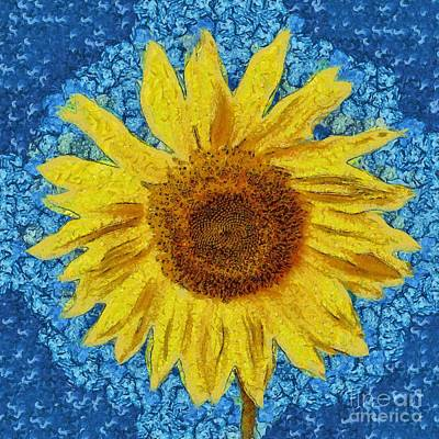 Sunflowers Royalty-Free and Rights-Managed Images - Sunflower Design by Edward Fielding