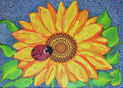 Painting - Sunflower Dot Painting by Olesea Arts