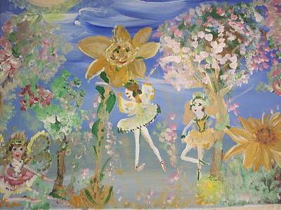 Art Print featuring the painting Sunflower Fairies by Judith Desrosiers