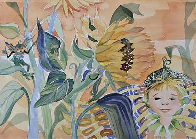 Painting - Sunflower Fairy by Mindy Newman