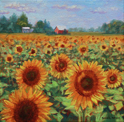 Painting - Sunflower Farm by Bonnie Mason