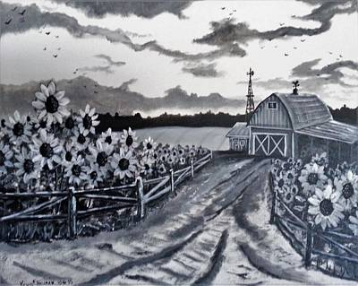 Painting - Sunflower Farm by Kevin F Heuman