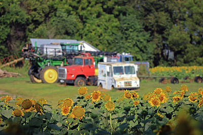 Photograph - Sunflower Farm Machinery by Christopher McKenzie