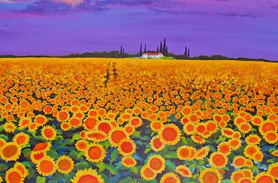 Sunflower Field Art Print by Anne Marie Brown