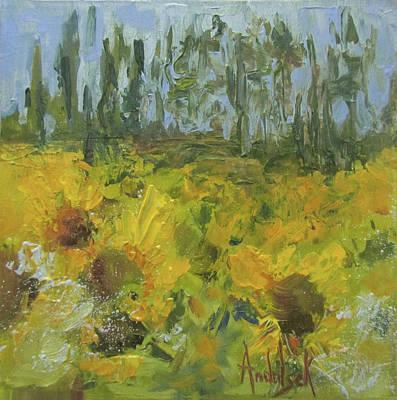 Sunflower Field Art Print by Barbara Andolsek
