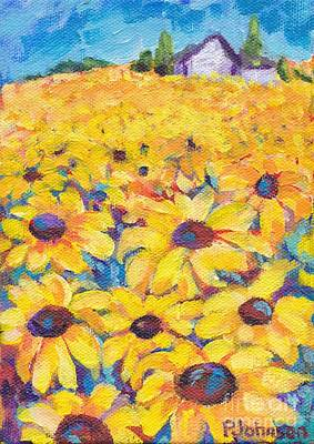 Painting - Sunflower Field By Peggy Johnson by Peggy Johnson