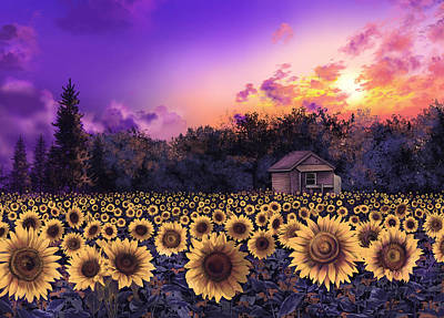 Painting - Sunflower Field Purple by Bekim Art