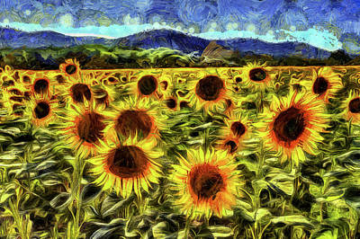 Mixed Media - Sunflower Field Van Gogh by David Pyatt