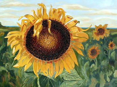 Sunflower Fields Forever  Art Print by Maria Soto Robbins