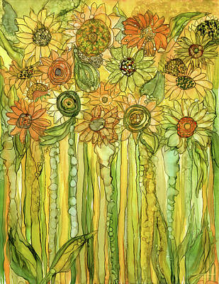 Sunflower Garden Bloomies 1 Art Print by Carol Cavalaris