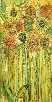Sunflower Garden Bloomies 2 Art Print by Carol Cavalaris
