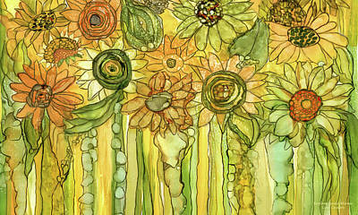 Sunflower Garden Bloomies 3 Art Print by Carol Cavalaris
